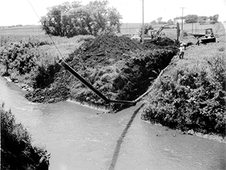 Gas line beneath the Nishnabotna River, near Manning, Iowa.